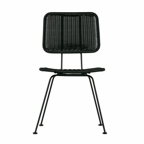 WOOOD Chaise de salle à manger Hilde noir PE métal lot de 2