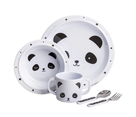 A Little Lovely Company Kinderservies Panda wit zwart set van