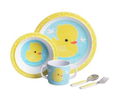 A Little Lovely Company Kinderservies Eendje blauw geel set van 4