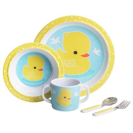 A Little Lovely Company Service pour enfants Canard bleu jaune lot de 4