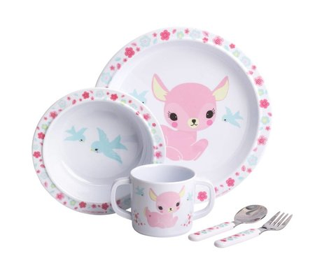 A Little Lovely Company Kinderservies Hertje roze set van 4