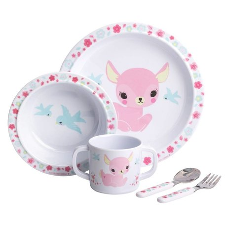 A Little Lovely Company Kinderservice Deer pink 4er Set