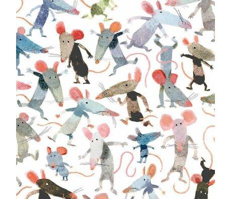 KEK Amsterdam Tapete Kleine Mäuse mehrfarbiges Vlies 389,6 x 280 (8 Blatt)