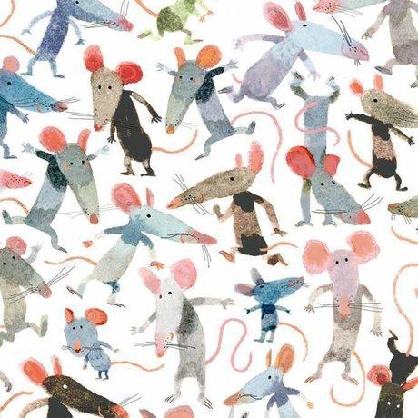 KEK Amsterdam Wallpaper Little mice multicolor non-woven paper 292.2 x 280 (6 sheets)