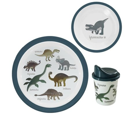 Sebra Children's service Dino blue melamine set of 3