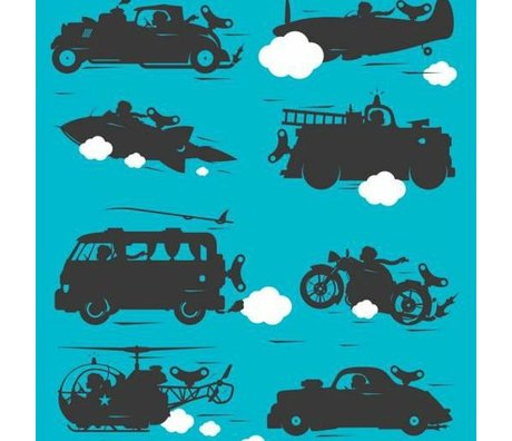 KEK Amsterdam Behang vehicles turquoise multicolor vliespapier 97,4 x 280cm