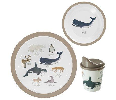 Sebra Children's service Arctic animals light brown melamine set of 3