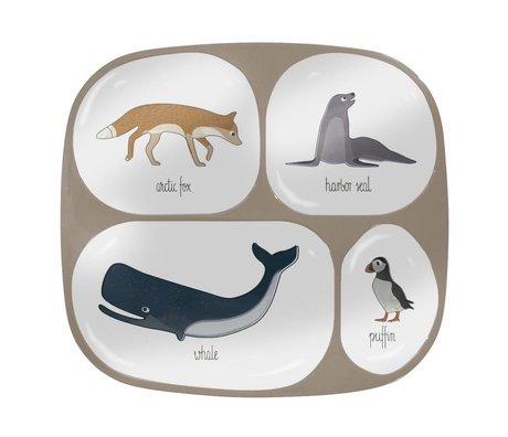 Sebra Children's board four squares Arctic animals light brown melamine 24x21x2cm