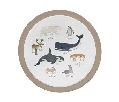 Sebra Tableau pour enfants animaux arctiques mélamine marron clair Ø21,5x2cm
