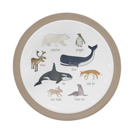 Sebra Children's board Arctic animals light brown melamine Ø21,5x2cm