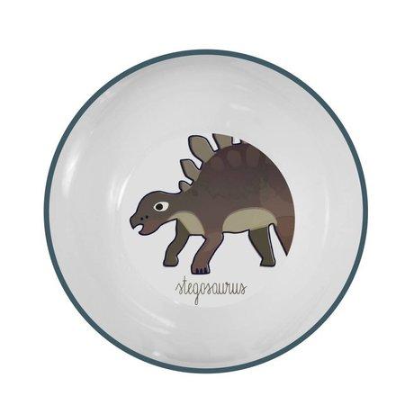 Sebra Kinderkom Dino blauw melamine Ø15,5x6cm