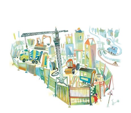 KEK Amsterdam Papier peint de chantier, papier non tissé multicolore 292,2 x 280 (6 feuilles)