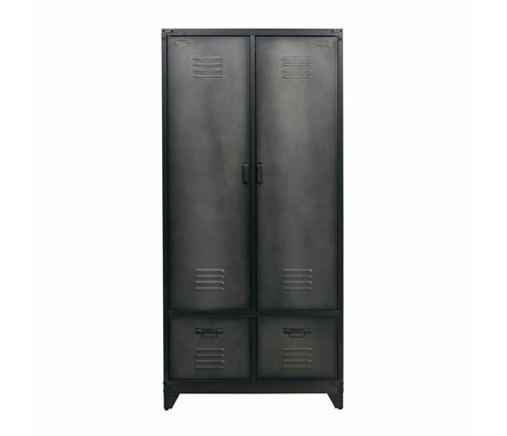 vtwonen Cabinet locker black metal 190x90x50cm