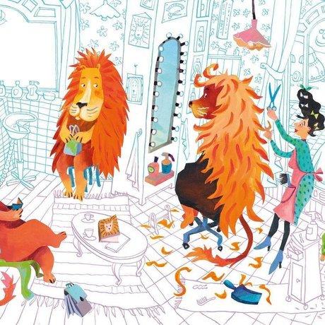 KEK Amsterdam Tapete Löwenhaarschnitt mehrfarbiges Vlies 389,6 x 280 (8 Blatt)