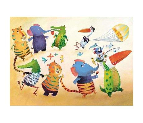 KEK Amsterdam Papier peint Danse animaux multicolore papier molleton 389,6 x 280 (8 feuilles)