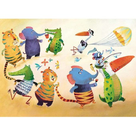 KEK Amsterdam Wallpaper Dancing animals multicolor fleece paper 389.6 x 280 (8 sheets)