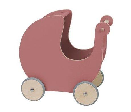 Sebra Poupée de transport en bois rose foncé 45x25x44cm