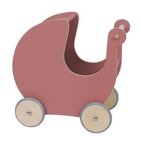 Sebra Poppenwagen donker roze hout 45x25x44cm