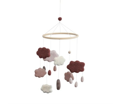 Sebra Mobiel Clouds plum roze textiel Ø22x57cm