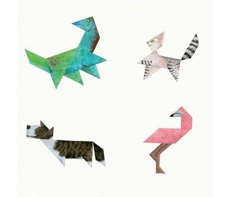 KEK Amsterdam Papier peint Tangram Animals multicolore papier non tissé 97,4 x 280cm
