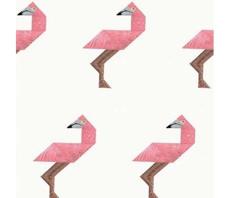 KEK Amsterdam Wallpaper Tangram Flamingo multicolor non-woven paper 97.4 x 280cm