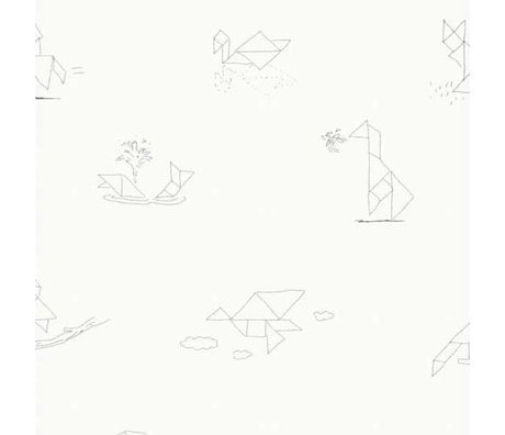KEK Amsterdam Behang Tangram Animal Sketches multicolor vliespapier 97,4 x 280cm