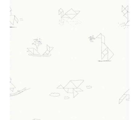 KEK Amsterdam Tapete Tangram Animal Sketches multicolor Vlies Papier 97,4 x 280cm