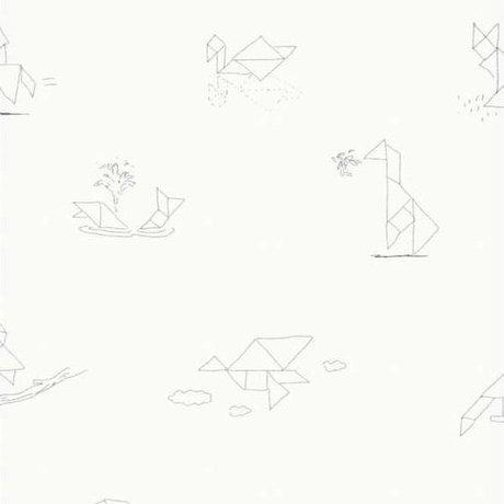 KEK Amsterdam Papier peint Tangram Animal Sketches multicolore papier non tissé 97,4 x 280cm