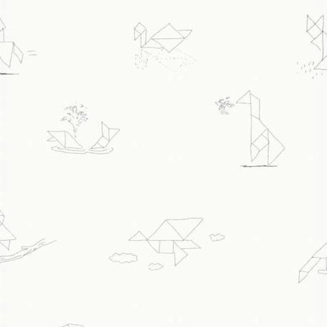 KEK Amsterdam Wallpaper Tangram Animal Sketches multicolor non-woven paper 97,4 x 280cm