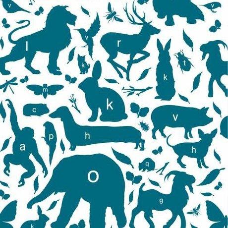 KEK Amsterdam Behang animal alphabet petrol multicolor vliespapier 97,4 x 280cm