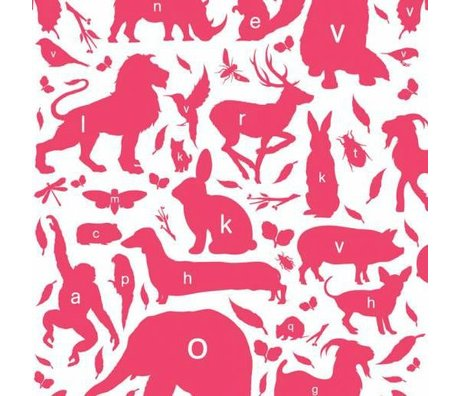 KEK Amsterdam Behang animal alphabet fuchsia multicolor vliespapier 97,4 x 280cm