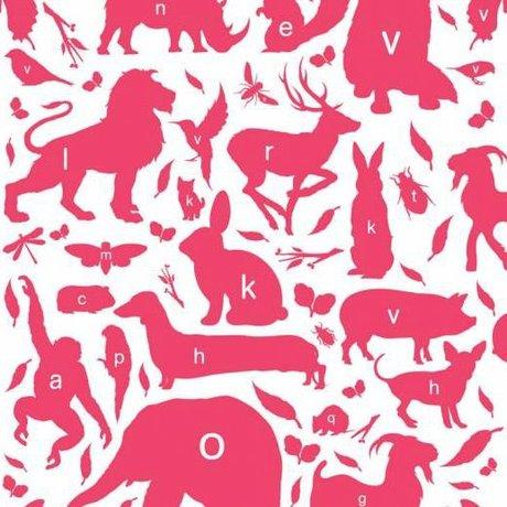 KEK Amsterdam Papier peint animal alphabet fuchsia papier multicolore non tissé 97,4 x 280cm