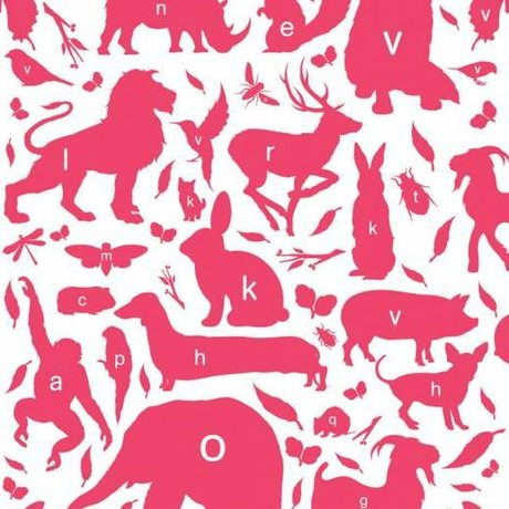KEK Amsterdam Wallpaper animal alphabet fuchsia multicolor non-woven paper 97,4 x 280cm