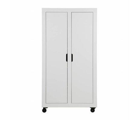 WOOOD Cabinet Elon 2-drs armoire pin blanc poncé 190x100x46cm