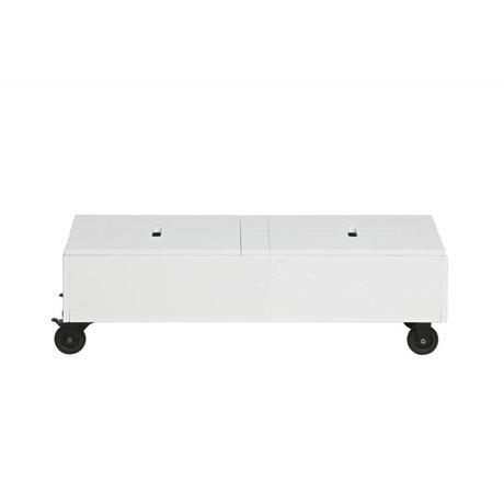 WOOOD Coffre de rangement Elon pin blanc poncé 27,5x90x44cm