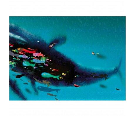 KEK Amsterdam Papier peint Nager avec la baleine papier intissé multicolore 389,6 x 280 (8 feuilles)
