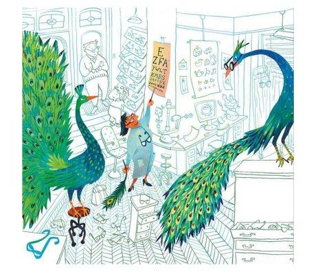KEK Amsterdam Papier peint Paons verts Papier intissé multicolore 292,2 x 280 (6 feuilles)