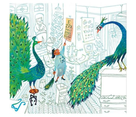 KEK Amsterdam Wallpaper Green peacocks multicolor non-woven paper 292.2 x 280 (6 sheets)