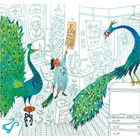 KEK Amsterdam Papier peint Paons verts multicolores papier non-tissé 292.2 x 280 (6 feuilles)