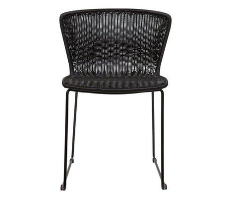 LEF collections Chaise Ailes (jardin) en plastique noir ensemble de deux 77,5x54,5x54cm