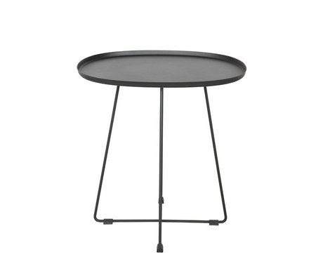 LEF collections Table d'appoint Otis (jardin) métal noir 43x51x50cm