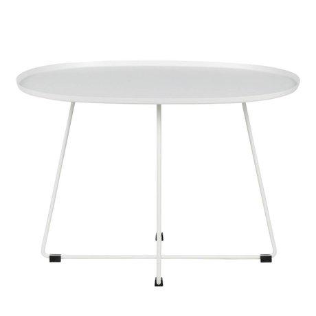 LEF collections Table d'appoint Otis (jardin) métal blanc XL 70x60x47cm