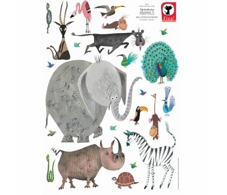 KEK Amsterdam Muurstickers Animals (XL) multicolour vinyl 85 x 119