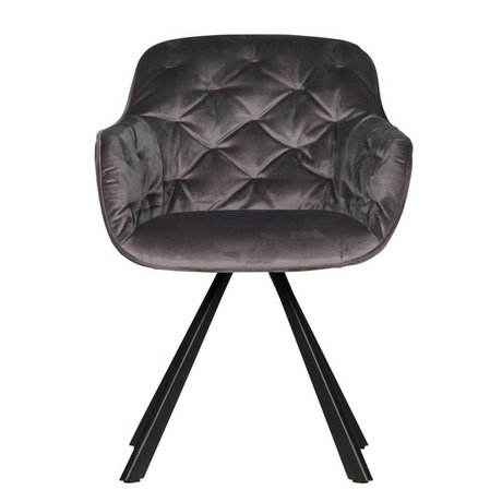 WOOOD Dining chair Elaine anthracite gray velvet 59,5x59x80,5cm