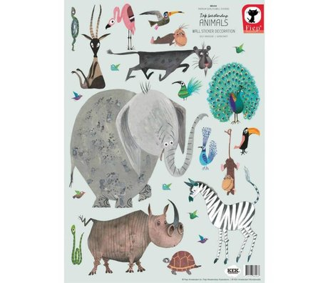 KEK Amsterdam Muurstickers Animals (set) multicolour vinyl 42 x 59