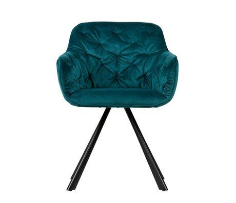 WOOOD Chaise de salle à manger Elaine Deep Sea velours bleu foncé 59,5x59x80,5cm