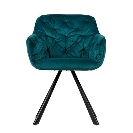 WOOOD Dining chair Elaine Deep Sea dark blue velvet 59,5x59x80,5cm