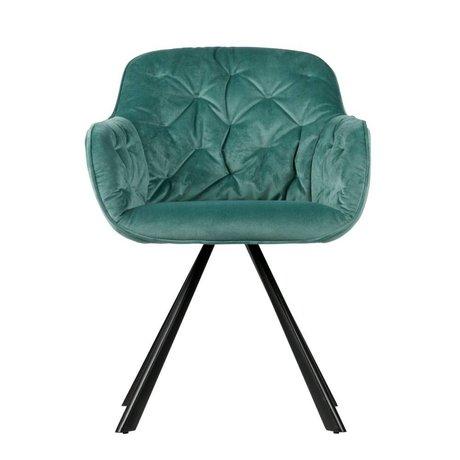 WOOOD Chaise de salle à manger Elaine Ocean velours bleu 59,5x59x80,5cm
