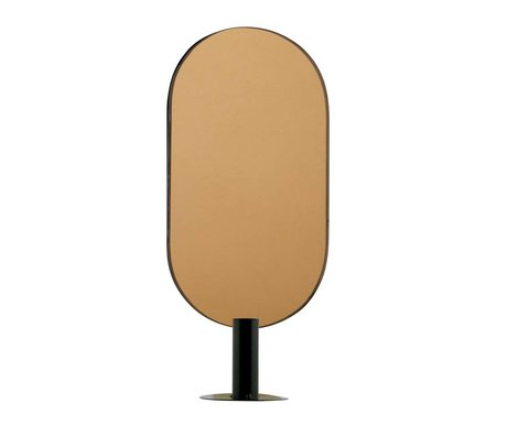 WOOOD Kaarsenhouder met spiegel Emily recht brass zwart metaal 16x10x37cm