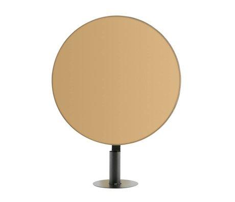 WOOOD Kaarsenhouder met spiegel Emily rond brass zwart metaal 30x11x37,5cm